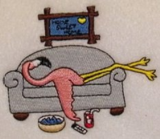 Couch Flamingo by EMbroidery Patterns - EmbrideryDesigns.com